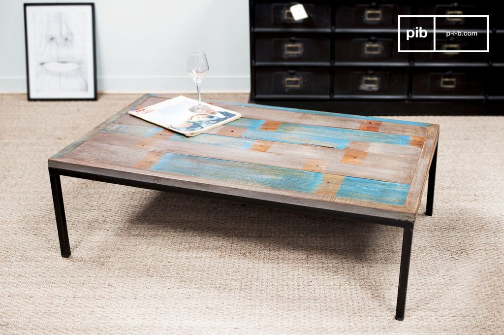 Couchtisch Moritz  Metall und blaue Tischplatte  PIB