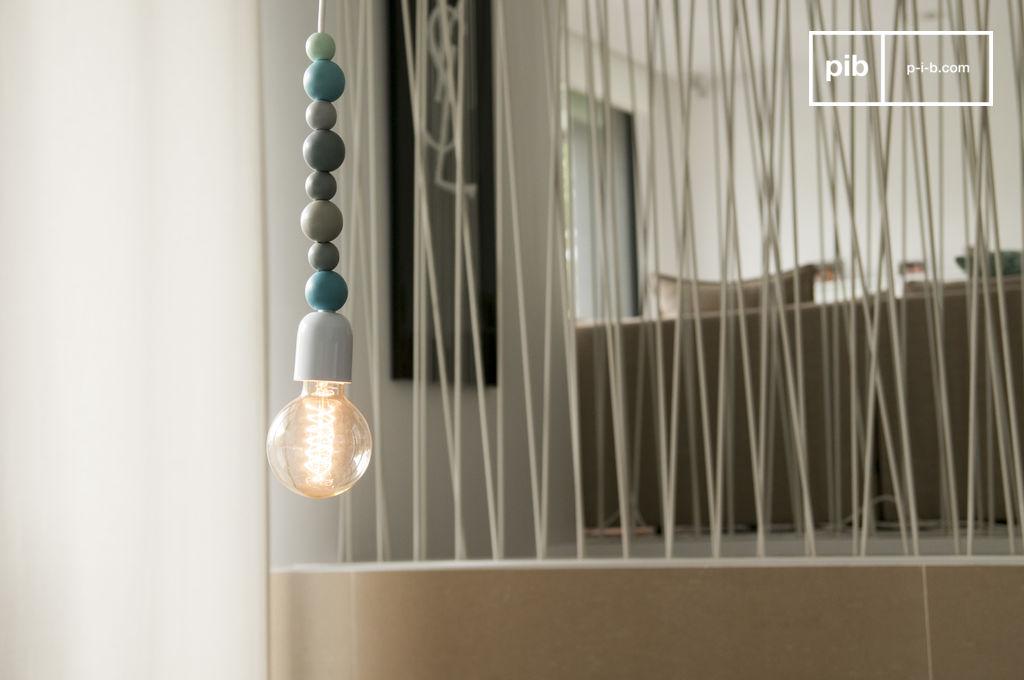 h ngeleuchte aus holz blau filip nn pib. Black Bedroom Furniture Sets. Home Design Ideas