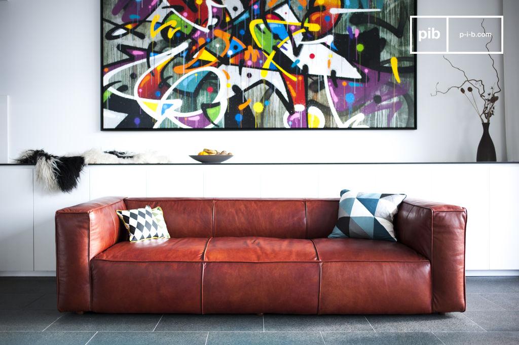 sofa vintage krieger gro es sofa aus leder pib. Black Bedroom Furniture Sets. Home Design Ideas