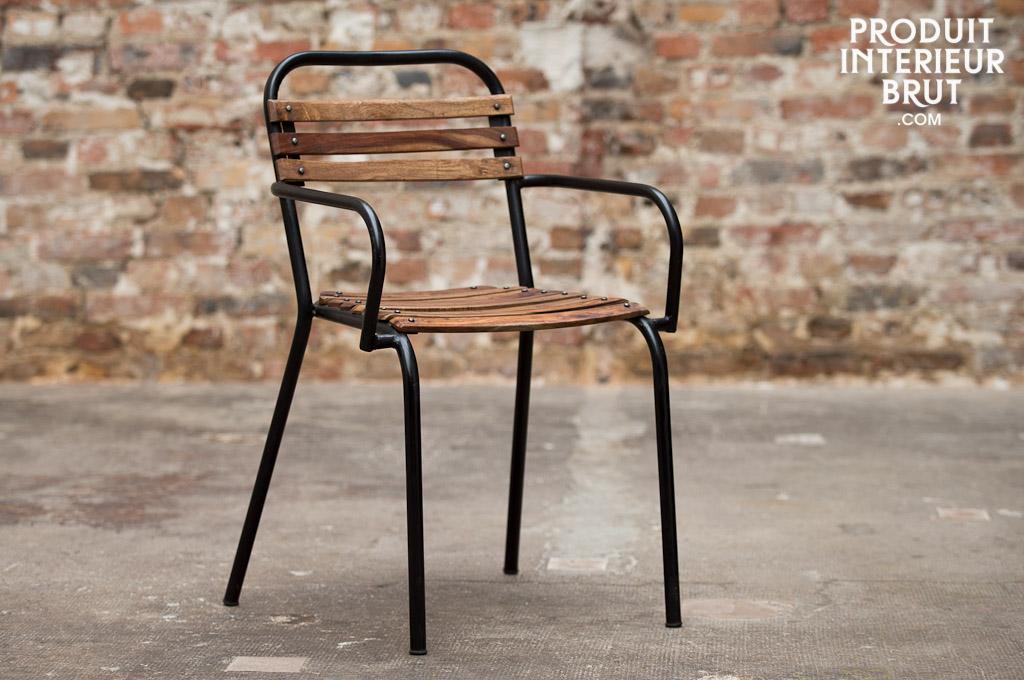 stuhl mistral mit armlehnen eine kombination aus holz und metall in vintage industriedesign. Black Bedroom Furniture Sets. Home Design Ideas
