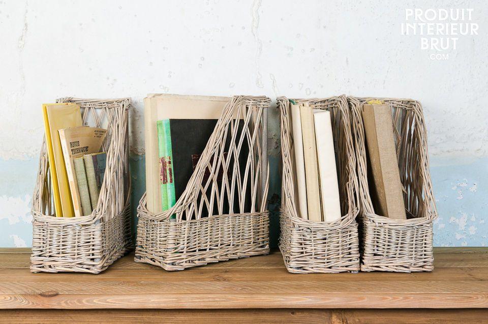 Die Stehsammler Chloé bestehen vollständig aus Weide und verleihen Ihren Regalen und Ablagemöbeln