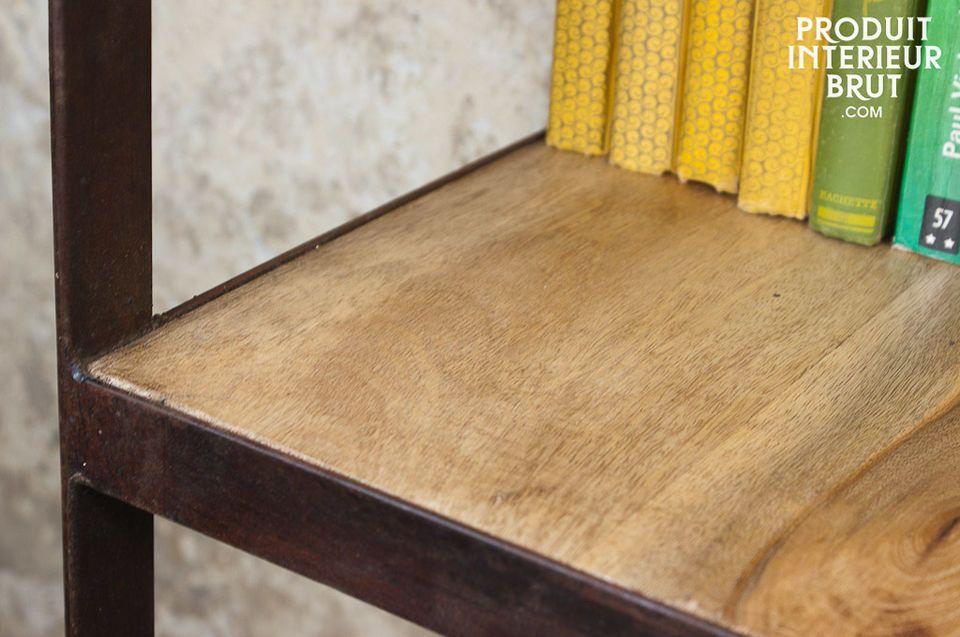 Regal mit 4 Ablagen aus Holz n Metall im Vintage-Industriedesign