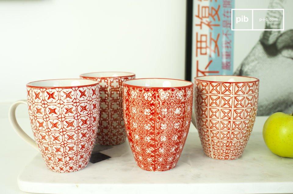 Die 4 Tassen Kennedy sind perfekte Geschirrstücke mit schöner, romantischer Deko, die vom nordischen Design inspiriert sind
