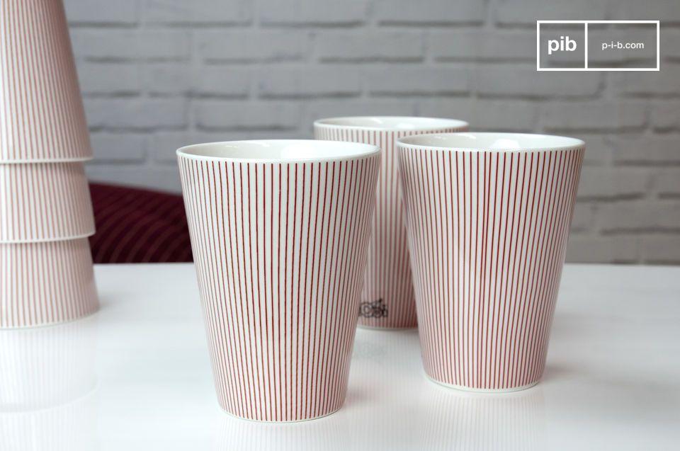 Nutzen Sie diese sechs eleganten Porzellanbecher um Ihrem Tisch eine dezente und raffinierte skandinavische Note zu verpassen