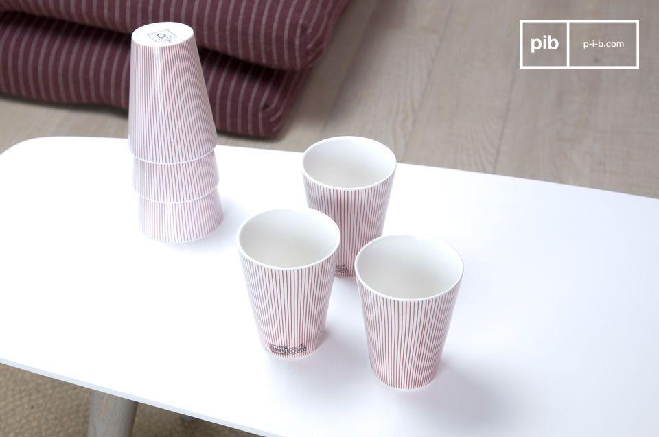 Nutzen Sie diese sechs eleganten Porzellanbecher um Ihrem Tisch eine dezente und raffinierte