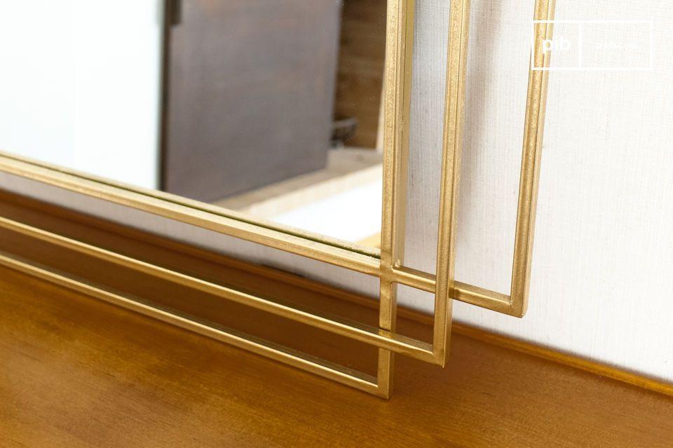 Dieser große geometrische Spiegel mit seinen dünnen Konturen ist in eine Struktur aus drei