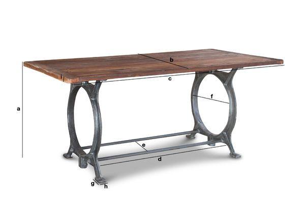Produktdimensionen Alter Tisch aus Teakholz Tonnel
