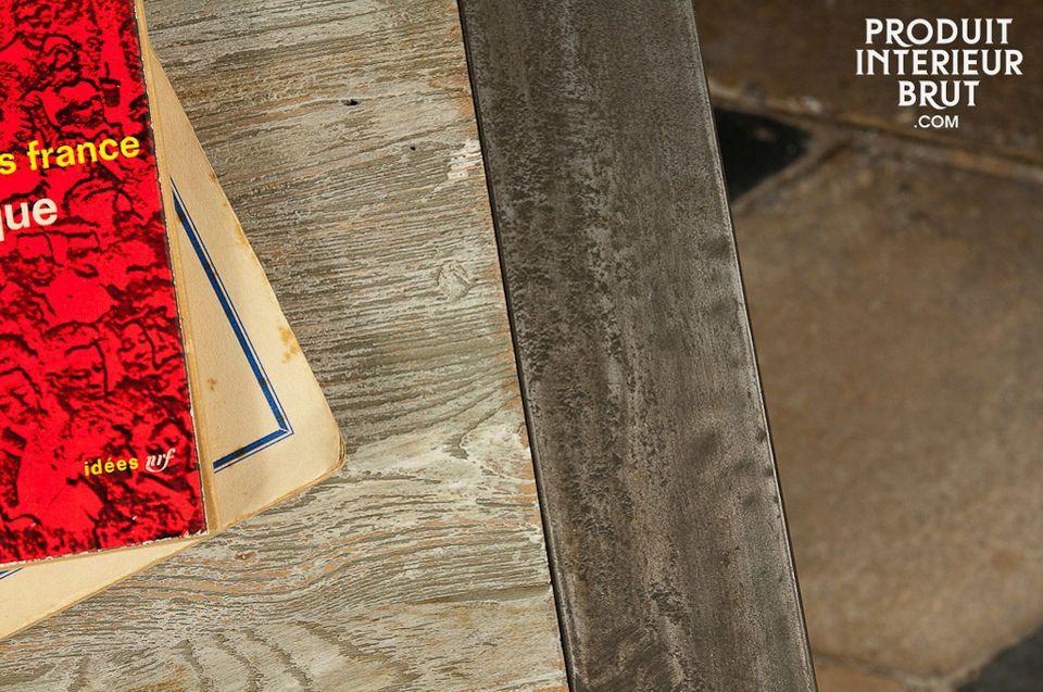 Nachttisch oder Sofa-Beistelltisch aus 100% Stahl und altem Holz