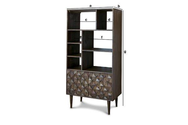 Produktdimensionen Bücherregal aus Holz Balkis