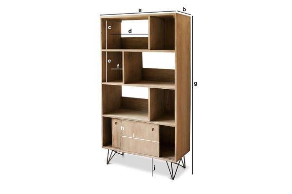 Produktdimensionen Bücherregal aus Holz Zürich