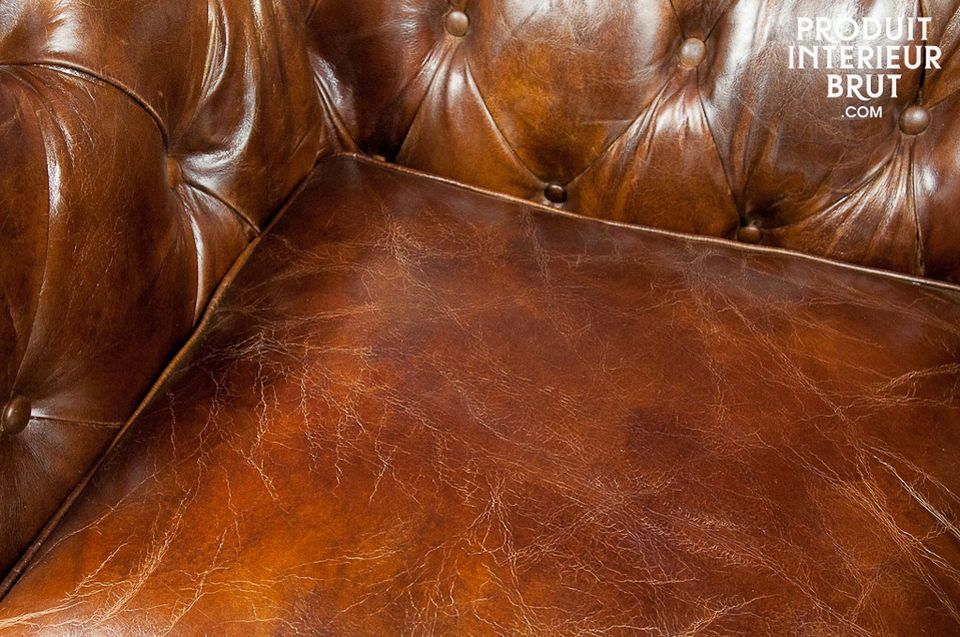Chesterfield-Sessel aus 100% Leder im Used-Effekt