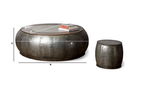 Produktdimensionen Couchtisch aus Metall Tubisteel