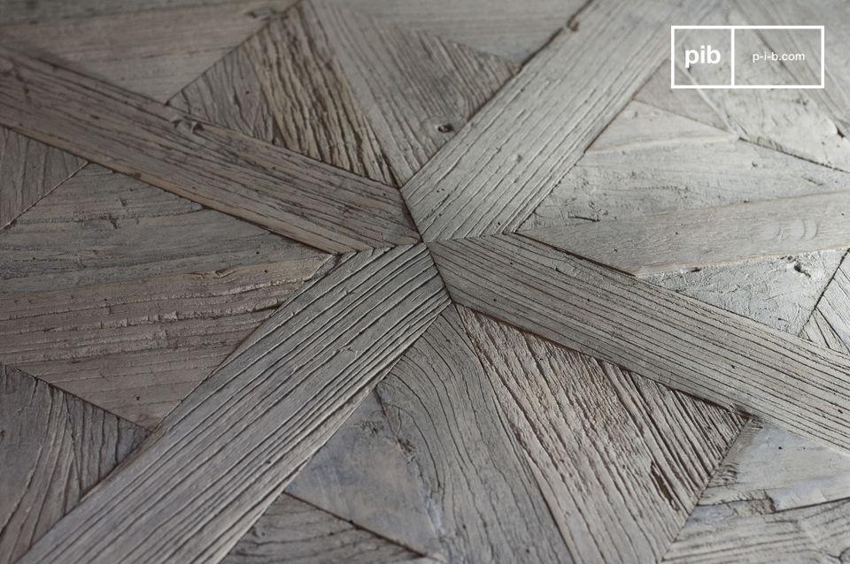 Quadratischer Couchtisch vollständig aus altem Ulmenholz