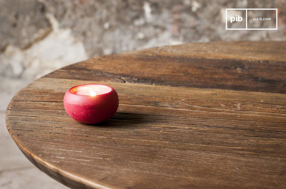 Runde Tischplatte aus Edelholz und zarte Füße