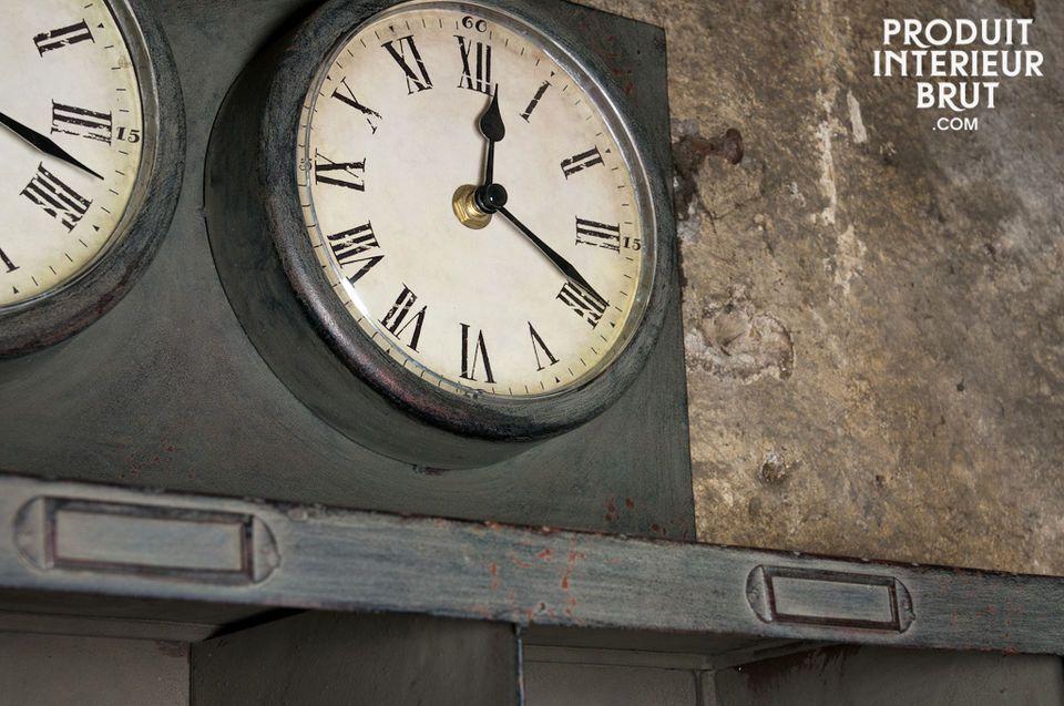 Diese Uhr aus Metall mit gebrauchtem Zink-Aspekt verleiht Ihrem Interieur einen Retro-Deko Touch