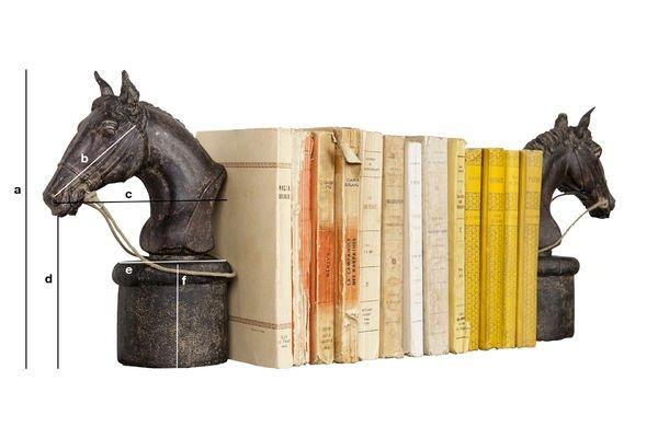 Produktdimensionen Ein Paar Pferde-Bücherstützen