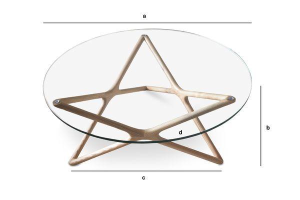 Produktdimensionen Estrella Couchtisch aus Glas