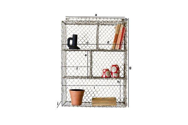 Produktdimensionen Gitterwandregal mit 5 Abteilen