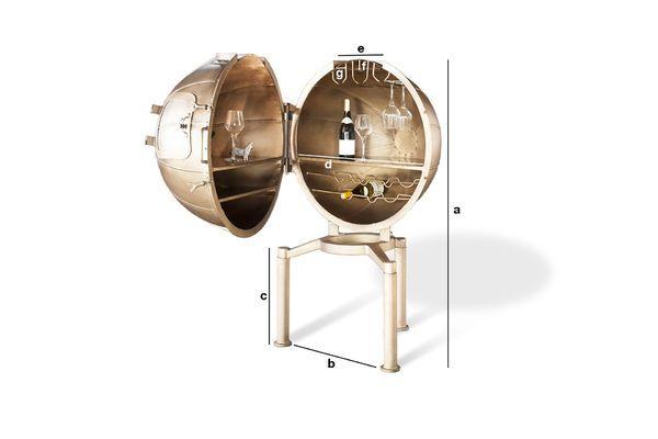 Produktdimensionen Globusbar Jules Vernes