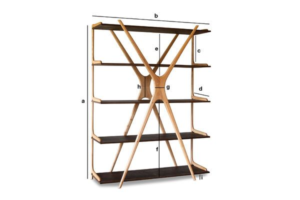 Produktdimensionen Großes Bücherregal aus Holz Waverly