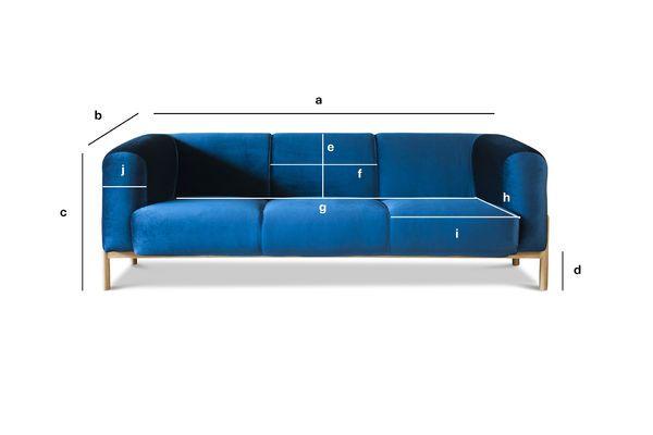 Produktdimensionen Großes Sofa aus Samt Viela