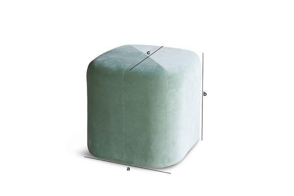 Produktdimensionen Grüner Samt Sitzpuff Skagen