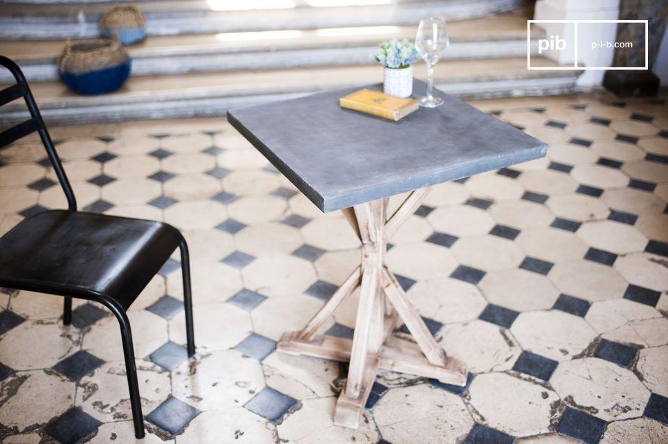 Die Tischplatte wurde mit einer Mischung aus Zement und Kunstharz gefertigt