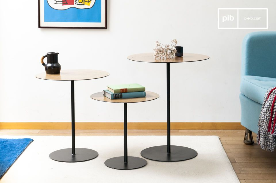 Eleganter Kontrast zwischen Eichenholz und schwarzem Metall