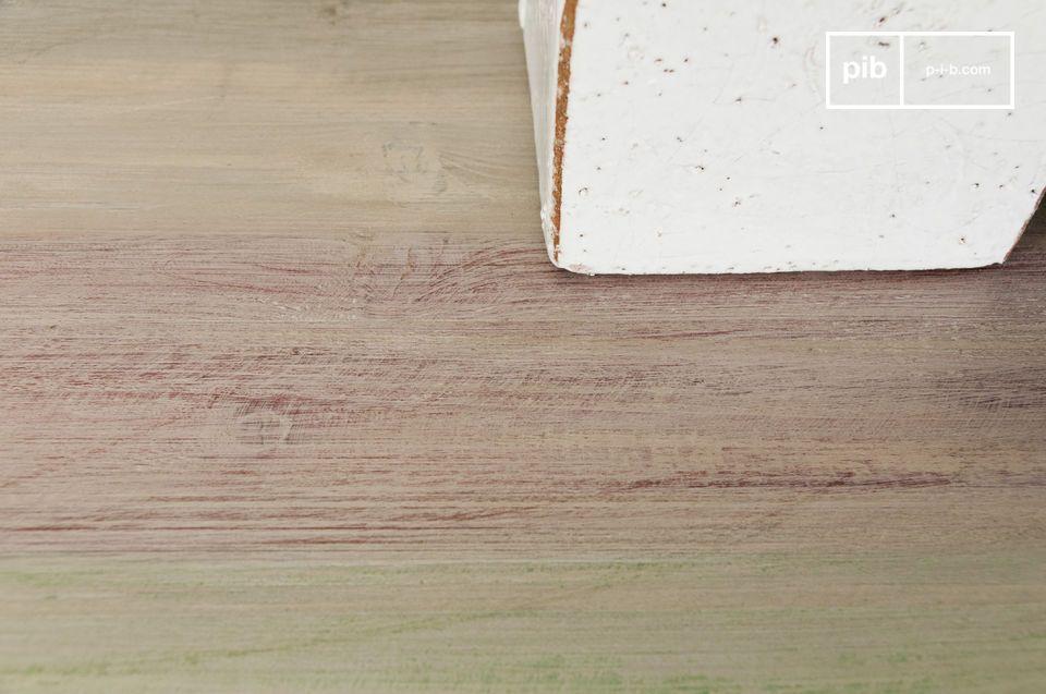 Mit seiner Tischplatte aus pastellfarbenen patiniertem Holz verleiht dieser Konsolentisch Ihrem