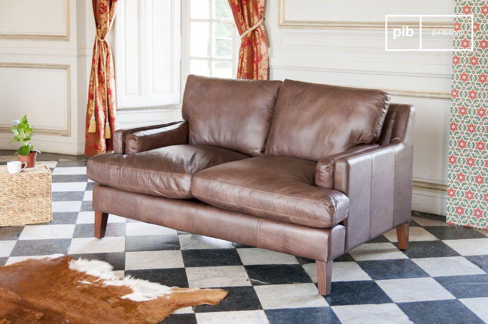 Ein Zweisitzer Sofa aus zeitlosem Vollnarbenlededer