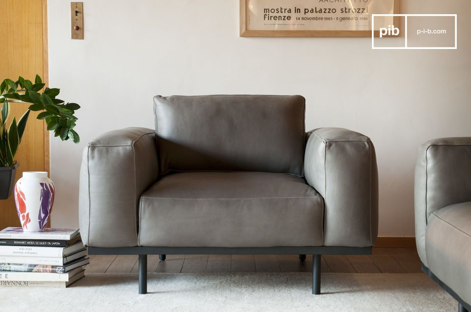 Mandel Sessel aus grauem Leder