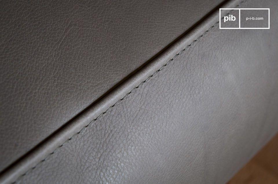 Mandel Sessel aus grauem Leder - 1