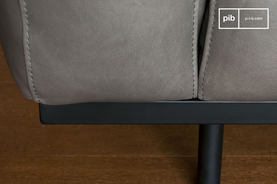 Mandel Sessel aus grauem Leder - 2