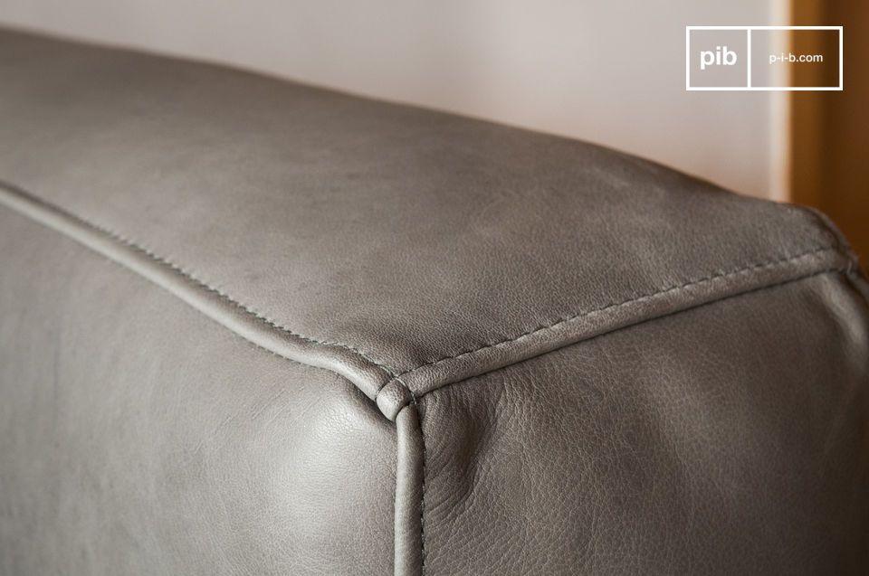 Mandel Sessel aus grauem Leder - 3