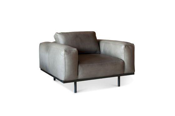 Mandel Sessel aus grauem Leder ohne jede Grenze