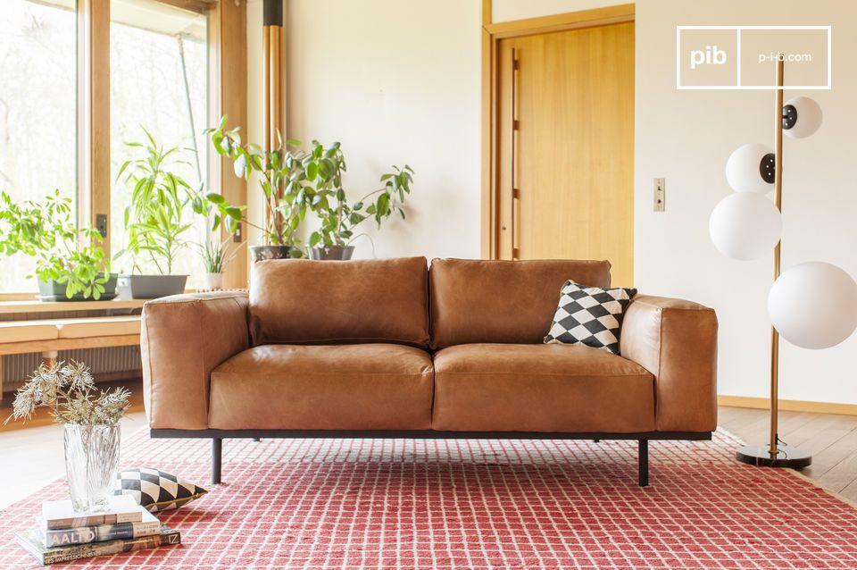 Mandel Sofa in braunem Leder