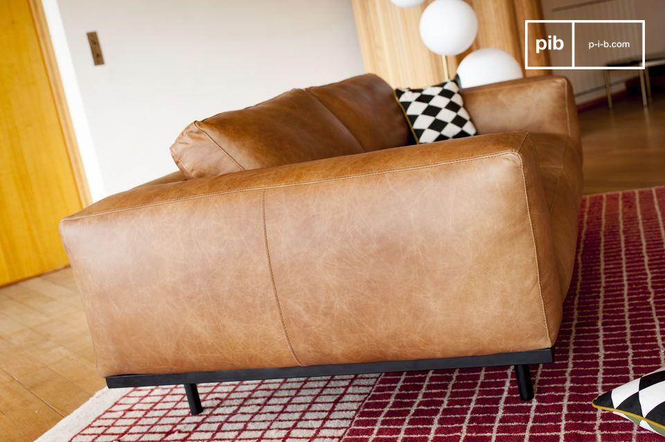Mandel Sofa in braunem Leder - 6