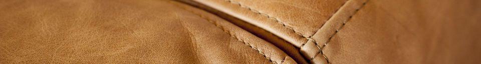 Materialbeschreibung Mandel Sofa in braunem Leder