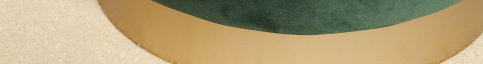 Materialbeschreibung Messing und grüner Samtpouf Dallas