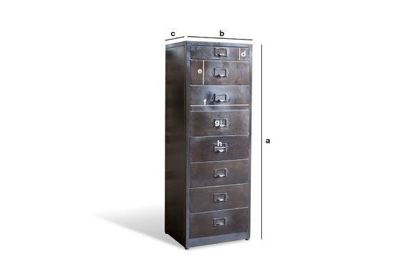 Produktdimensionen Metall Aktenschrank mit 8 Schubladen Telex