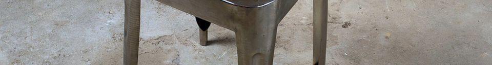 Materialbeschreibung Metallhocker mit Sitzfläche aus Teakholz