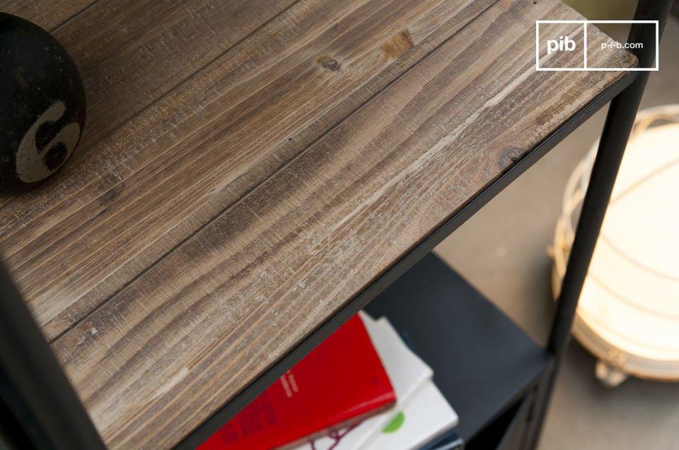 Das Regal Etel besitzt eine Struktur aus Stahl und Platten aus lasuriertem Massivholz
