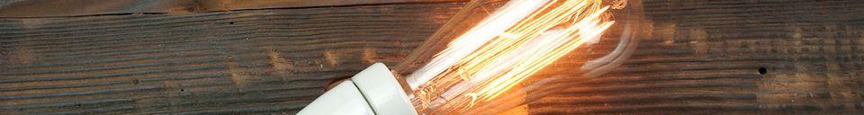 Materialbeschreibung Retro-Glühbirne mit langem Glühfaden