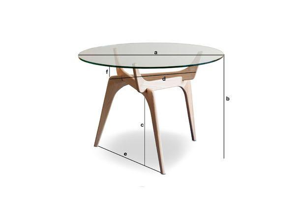 Produktdimensionen Runder Tisch aus Glas Parkano