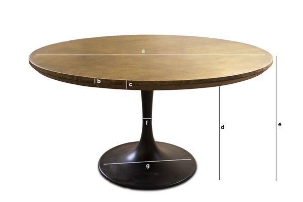 Produktdimensionen Runder Tisch Liverpool