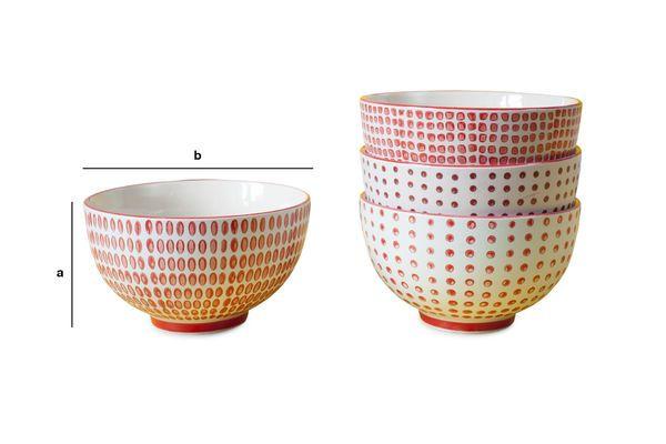Produktdimensionen Satz aus 4 Schalen mit roten Tupfern