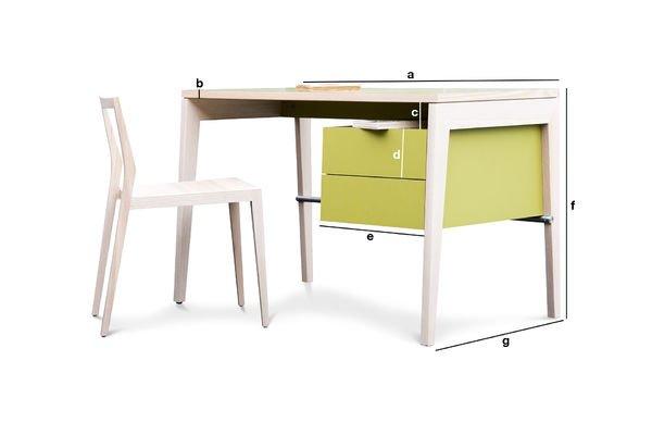 Produktdimensionen Schreibtisch mit Schubfächern Nöten
