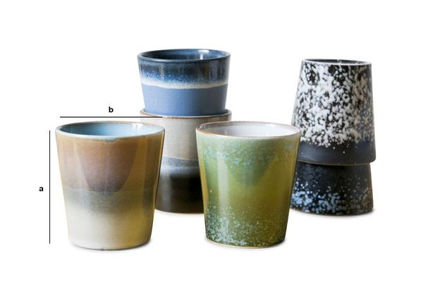 Produktdimensionen Sechs Keramik Kaffeetassen