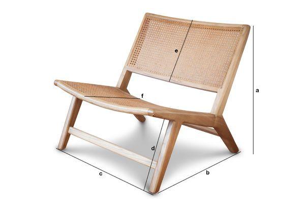 Produktdimensionen Sessel aus Bambus Thisted