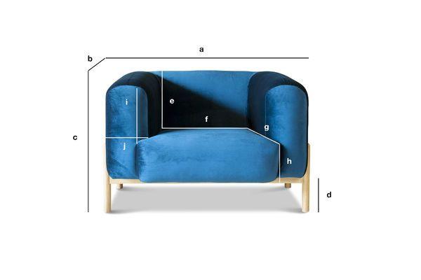 Produktdimensionen Sessel aus Samt Viela